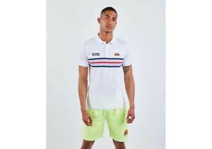 Ellesse Mens Pesaro Polo Shirt Top Size Medium Short Sleeve Stripe Cotton BNWT