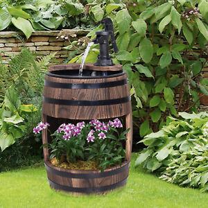 Outsunny Gartenbrunnen Zierbrunnen Springbrunnen Fassbrunnen Pflanzgefäß Holz