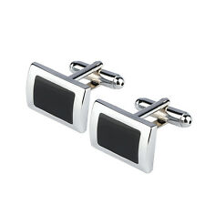 Mens Silver and Black Coloured Rectangle Business Wedding Cufflinks