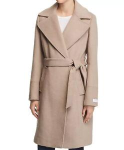 Calvin Klein Women's Beige Notched Collar Wrap Coat