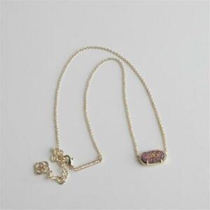 Kendra Scott Elisa Gold Tone Pendant Necklace in Multi Color Drusy w Dust Bag