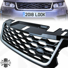 '2018 look' front grille for Range Rover Sport 2014-17 L494 Black+Silver Trim