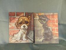 """2 Big eyed prints Dog & Cat 8"""" x 10"""" pity puppy artist GIGI animal lover art"""