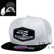 Mexican hat cap Hecho en MEXICO Eagle Embroidery Snapback Baseball cap- White