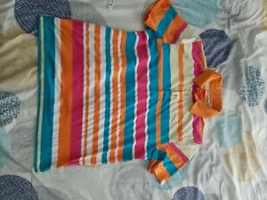 PUMA ROADMAP Striped Polo Shirt Golf Vibrant Orange Size L
