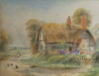 Antique Watercolour Painting by Ernest Potter Callow End Worcestershire Old Hous