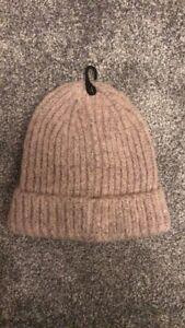 NEW LOOK wooly Hat Light Pink Grey Spec Winter Warm Ribbed Ladies Women's Girls