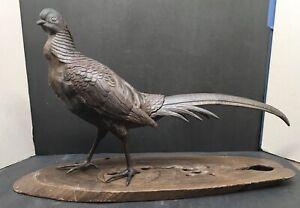 Large Japanese Meiji Bronze Okimono - Pheasant W/Gold & Shakudo Eyes  , Signed