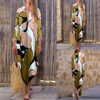 UK Women Oversized Vintage Floral Baggy Tunic Split Shirt Maxi Dress Kaftan Plus