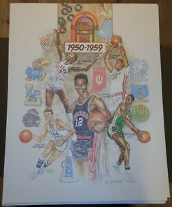50 Years Of The Final Four 1/950 SIGNED John B. Martin Lithograph 1950-59 28X22