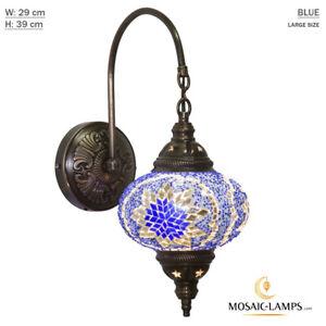 Turkish Mosaic Single Swan Neck Wall Lamp, Traditional Ceiling Lightings, Large