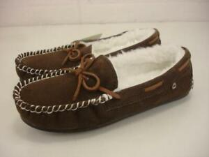 Women's 6 M LAMO Brown Suede Leather Faux Fur Lined Slippers Moccasins Slip-On
