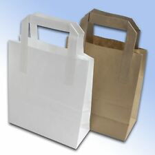 More details for takeaway paper kraft bags sos flat handle block bottom party  gifts brown white