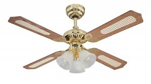 """Traditional Ceiling fan with lights Princess Trio Polished Brass 105 cm / 42"""""""