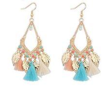 Summer Indian Jhumka Set in multiple colors Hanging Tassel Earrings (Bali Bohem