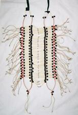INDIAN STYLE LG RED BLACK BEADED BUFFALO BONE BREAST PLATE western chest shield