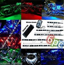 6Pc Motorcycle RGB/Red/Green/Blue/Yellow Glow Lights Flexible LED Strips 12V Kit