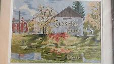 Framed Wool Needlepoint Ceresota Flour Barn in Bucks County, Pa - 15x19 Jca New