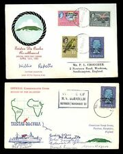 TRISTAN DA CUNHA 1963 RESETTLEMENT 2 SIGNED COVERS SHIP M.V BORNHOLM + FDC