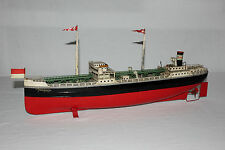 Rare Antique German Fleischmann Tin Painted Esso Oil Tanker Boat Working VG L@@K