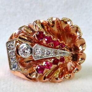 ANTIQUE 1940's RETRO LARGE ORNATE DIAMOND & RUBY 14K ROSE GOLD COCKTAIL RING