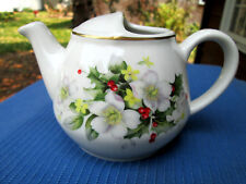Hall China TEAPOT 2-CUP w Gold Trim & ENHANCED with FLORAL DESIGN ,MINT!  D6