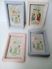 4 petites images religieuses encadrées - anciennes- enfants-