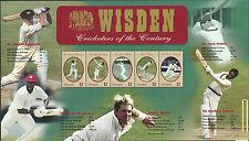WISDEN CRICKETERS OF CENTURY GRENADA 2000 SHEET of 5. Warne Bradman Sobers Hobbs