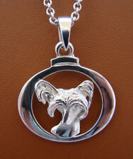 Sterling Silver Chinese Crested Head Study On A Horizontal Frame Pendant
