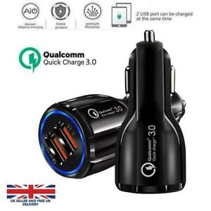 Quick Charge 3.0 Car Charger 2 Ports USB Qualcomm QC Fast Dual Adapter-uk