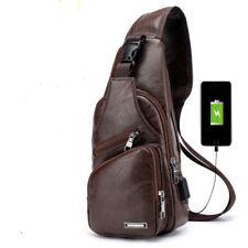 Men Leather Shoulder Chest Sling Bag Messenger Crossbody With USB Charging Port