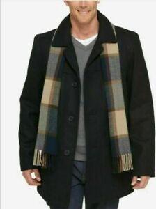 Tommy Hilfiger Men's Wool Blend Melton Peacoat Coat,Scarf Charcoal Black RRP£220