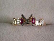 14K Yellow Gold 7mm Round Semi-mount Engagement Ring W/Rubies & Diamonds