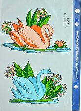 """Vintage Handpainted Decals by Decorcal 12"""" X 8"""" Swans- New"""