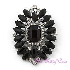 Victorian Vintage Deco Style Black Oval Cluster Brooch Pin w/ Swarovski Crystals