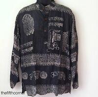 Hippie Hare Rama Om Ganesh Hindu Yoga T Shirt Kurta Top Unisex Handmade Nepal