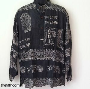 S-4XL UNISEX Hare Rama Om Hindu Yoga Prayer T Shirt Kurta Top Hippie Handmade