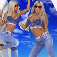 By Alina Damen 2-Teiler Jeans PUSH-UP Top HIGH-WAIST Röhrenjeans Print XS-M