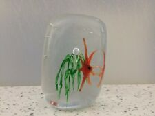 Murano Glass Aquarium Paperweight 3 poissons tropicaux en cube bloc vintage