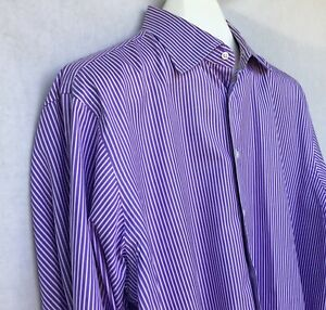 Ben Silver Charleston Button Front Dress Shirt Purple Striped French Cuff 17-34