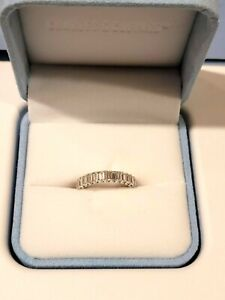 Charles and Colvard 14k White Gold Moissanite Emerald Cut Eternity Band 3.00ct