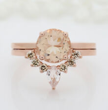 Solid Ring Engagement Gift Ring Kd672 Round Brown Morganite Ring Band Solitaire