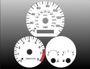 1998-1999 Mazda 626 Dash Cluster White Face Gauges 98-99