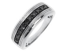 Mens White Gold Finish Round Black Diamond 8mm fashion Band Ring 0.50 ct