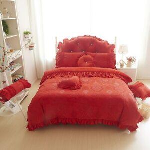 Thick Velvet Duvet Cover Bed Sheet 4/6pc Pink Princess Lace Flower Bedding Set