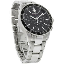 Movado Series 800 Mens Black Dial Swiss Quartz Chronograph Watch 2600094