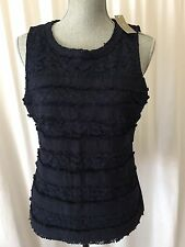 New J Crew Fringey Top In Tweed And Lace Navy Medium Sleeveless Blouse