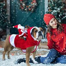 Dog Clothes Christmas Costumes Funny Pet Outfit Riding Santa