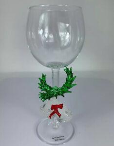 NWT Boxed Yurana Green Garland/Wreath Christmas Bells Christmas Wine Glass