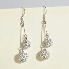 Fashion Women Silver Plated Crystal Ear Stud Earrings Hook Dangle Jewelry New